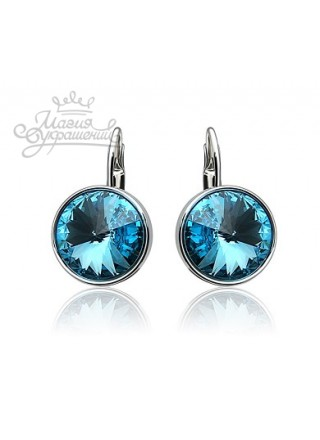 Серьги с круглым кристаллом Swarovski Turquoise 12 мм