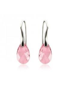 Серьги Средние с розовыми кристаллами Sw
