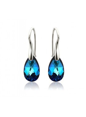 Серьги Средние с синими кристаллами Swarovski Bermuda Blue