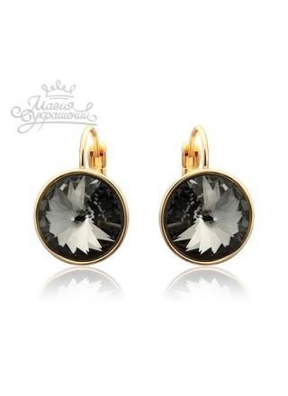 Серьги с круглыми черными кристаллами Swarovski Silver night