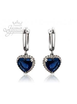 Серьги Синие сердечки