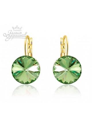 Серьги популярные со светло-зелеными кристаллами Сваровски