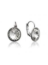 Серьги с круглыми прозрачными кристаллами Swarovski Clear 12 мм