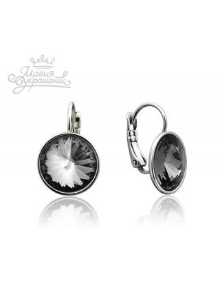 Серьги с круглым кристаллом Swarovski Silver Night 12 мм