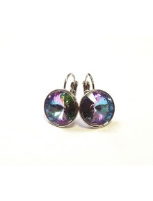 Серьги с круглым разноцветным кристаллом