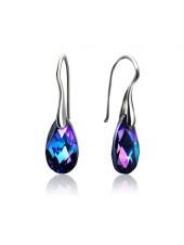 Серьги Средние с сине-фиолетовыми кристаллами Swarovski Heliotrop