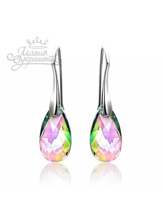 Серьги Средние с разноцветными кристаллами Swarovski Paradise Shine