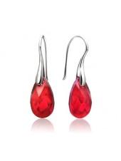Серьги Средние с красными кристаллами Swarovski