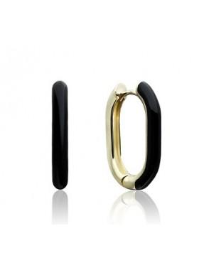 Серьги удлиненные с черной с эмалью