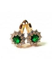 Серьги с зелеными кристаллами и английской застежкой