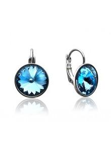 Серьги с круглым голубым кристаллом Swar