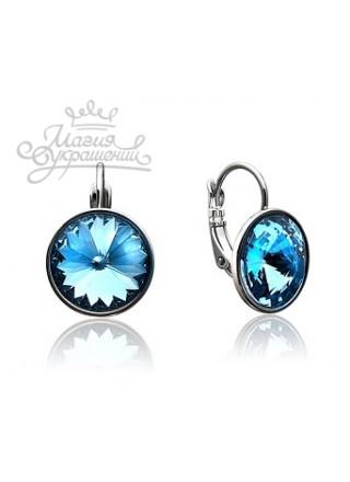 Серьги с круглым голубым кристаллом Swarovski Aquamarine 12 мм