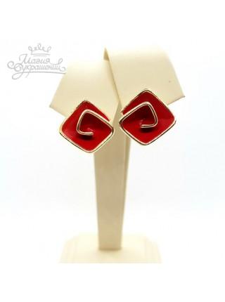 Серьги красные Завитки с эмалью