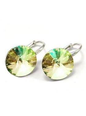 Серьги популярные с круглым зелено-желтым кристаллом Swarovski Luminous Green