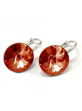 Серьги популярные с персиковым кристаллом Swarovski Rose Peach