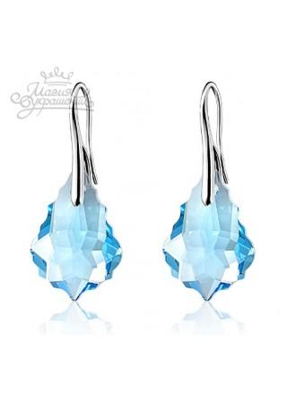 Серьги Барокко (Barocco) с голубыми кристаллами Swarovski