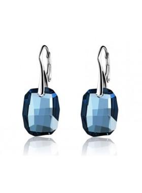 Серьги Кристальная мечта темно-синие Swarovski Demin с французской застежкой