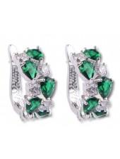 Серьги Магические зеленые и прозрачные фианиты