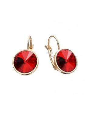 Серьги модные с красными Swarovski