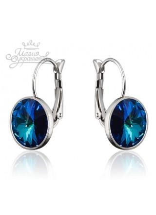 Серьги модные с кристаллом Swarovski Bermuda Blue