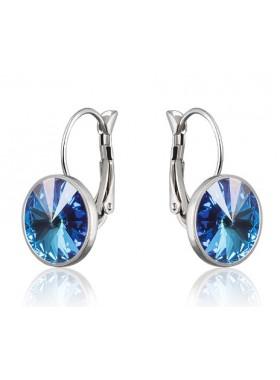 Серьги модные с кристаллом Swarovski Light Sapphire