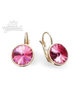 Серьги модные с розовыми Swarovski