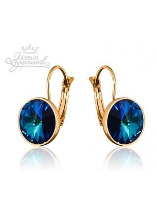 Серьги модные с синим кристаллом Swarovski Bermuda Blue