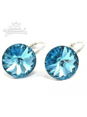 Серьги популярные с голубым кристаллом Swarovski Aqamarine