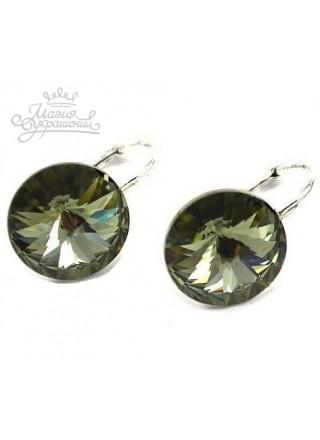 Серьги популярные с кристаллом Swarovski Черный Бриллиант