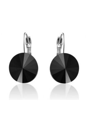 Серьги популярные с круглым черным кристаллом Swarovski Jet