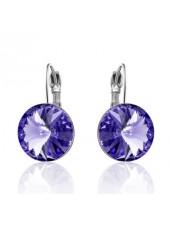 Серьги популярные с круглым фиолетовым кристаллом Swarovski