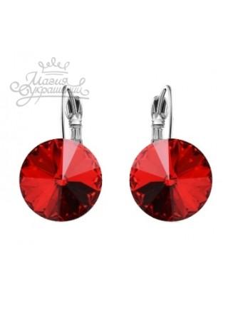Серьги популярные с круглым красным кристаллом Swarovski
