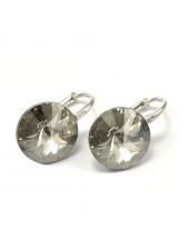 Серьги популярные с кристаллом Swarovski Silver Shade