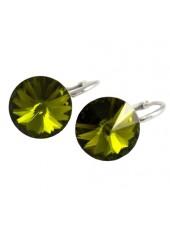 Серьги популярные с оливковым кристаллом Swarovski