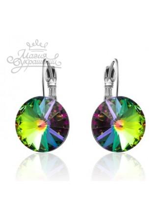 Серьги популярные с разноцветным кристаллом Swarovski