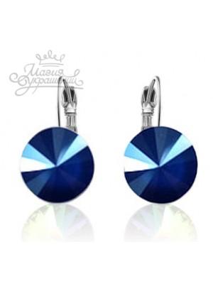 Серьги популярные с синим кристаллом Swarovski Royal Blue