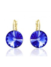 Серьги популярные с ярко-синим кристаллом Swarovski