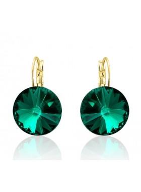 Серьги популярные с зеленым Swarovski Emerald