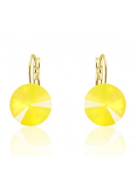 Серьги популярные с желтым Swarovski Yellow Opal