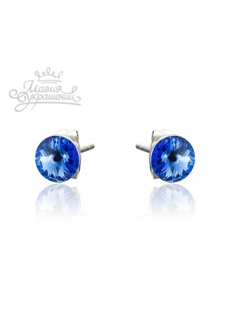 Серьги пусеты с синими Swarovski Sapphire 6 мм