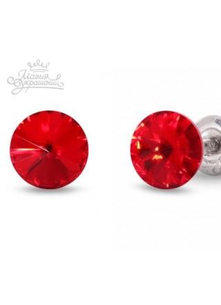 Серьги пусеты с красными кристаллами Swarovski 8 мм