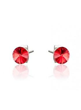 Серьги пусеты с красными кристаллами Swarovski 6 мм