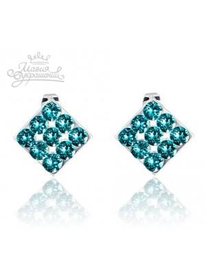 Серьги Ромбы с бирюзовыми Сваровски кристаллами