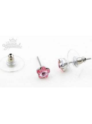 Серьги Розовый цветочек со Сваровски