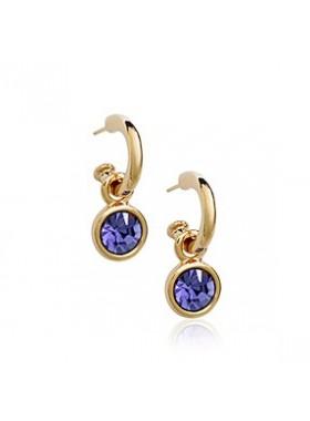 Серьги с фиолетовым кристаллом в золоте