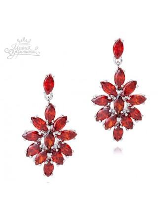 Серьги Сеньорита с красными кристаллами