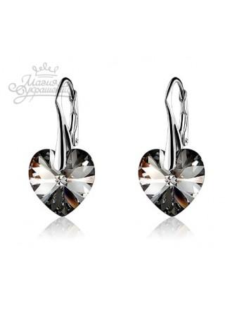 Серьги Сердце с кристаллом Swarovski Silver Night