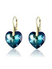 Серьги Синее сердце со Swarovski Bermuda Blue