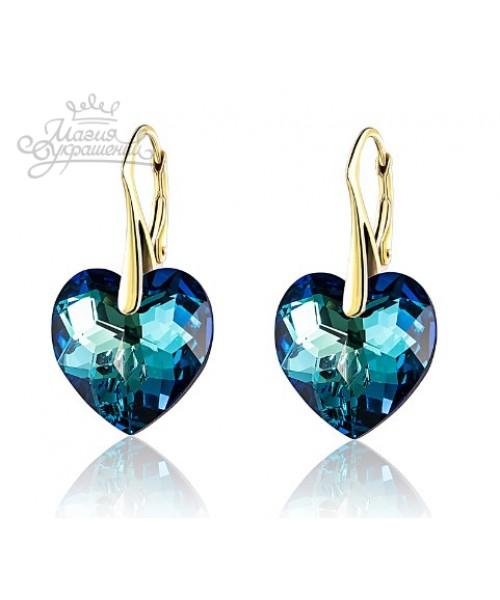 552699b1bbff Серьги Синее сердце со Swarovski Bermuda Blue купить в интернет ...