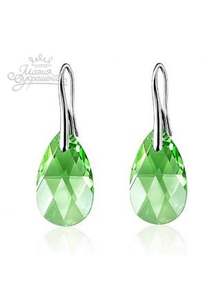 Серьги Слеза зеленого цвета со Сваровски Peridot